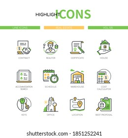 Real estate - modern line design style icons set. Housing and accommodation agency service idea. Realtor, house, schedule, warehouse, cost calculator, keys, office, location, best proposal images