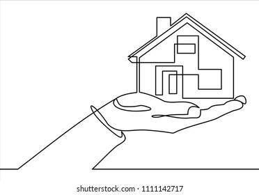 Real estate offer. Businessman holding a house.Vector continuous line.