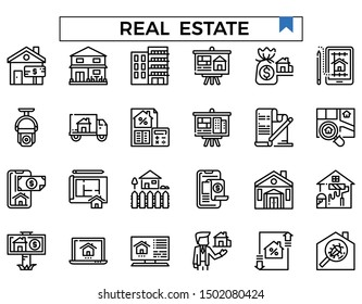 Real estate outline design icon set.