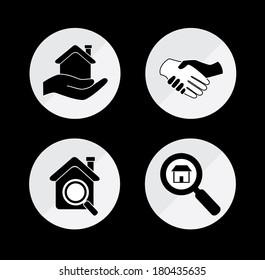 real estate over black background vector illustration