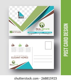Real estate Postcard Design vector template for Opening invitation.