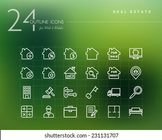 Real estate and property outline icons set for web and mobile app. EPS10 vector file organized in layers for easy editing.