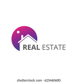 Real Estate Purple Logo - Home Logo Design Vector