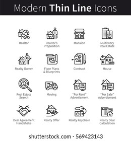 Real estate realtor deals full icon set. For sale and rent signs. House floor plans, keychain, realty calculator & more. Thin black line art. Linear style illustrations isolated on white.