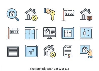 Real Estate related color line icon set. Apartment and private property linear icons. Residential colorful outline vector sign collection.