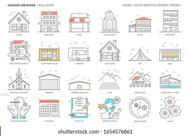Real Estate related, color line, vector icon, illustration set. The set is about House, property, investment, building, rental, immovable.