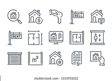 Real Estate related line icons.  Apartment and property vector linear icon set.