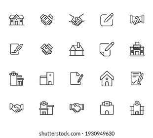 Real estate related vector icon set. Well-crafted sign in thin line style with editable stroke. Vector symbols isolated on a white background. Simple pictograms.