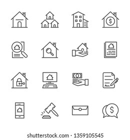 Real Estate Related Vector Line Icons