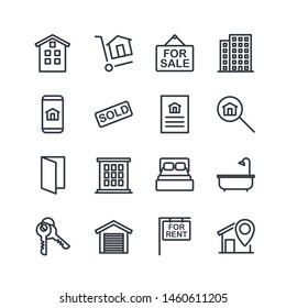 Real Estate Related Vector Line Icons set. Contains such Icons as For Rent Sign, Bedrooms, Office, Location and more for graphic and web design.