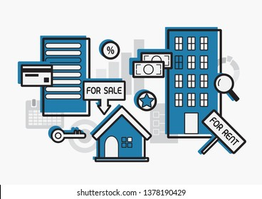 Real estate for rent and sale flat design,vector illustration.Price and money for house and condo property  investment concept.Blue color of estates on grey color of chart,document elements background