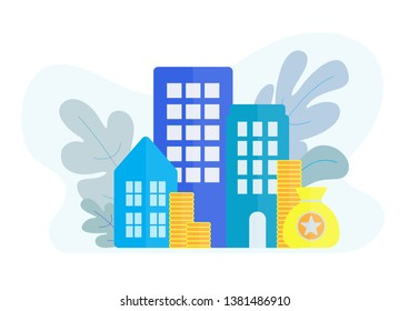 Real estate for rent and sale flat design, vector illustration. Money with house and condo property  investment concept on white background.