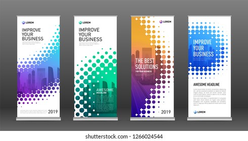 Real estate roll up banners design templates set. Vertical banner for event with halftone effect vector illustration on background.