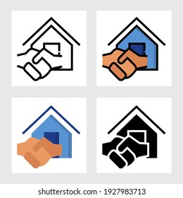 real estate sale agree icon vector designs in filled, thin line, outline and flat style.