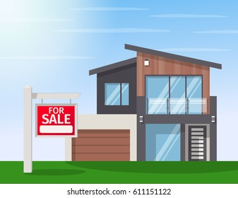 Real Estate for Sale. The house and sign in the foreground with the information. Vector flat design illustration.