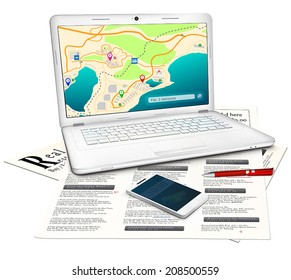 Real estate searching concept: Silver modern laptop with online city map on display, newspaper with classified real estate ads, red ballpoint pen, white touchscreen mobile phone. Isolated on white.