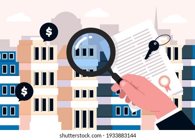 Real estate searching. Search for home. Investing, real estate, investment opportunity concept. Mortgage. Purchase, sale apartments or houses, search property, real estate agency. Vector illustration.