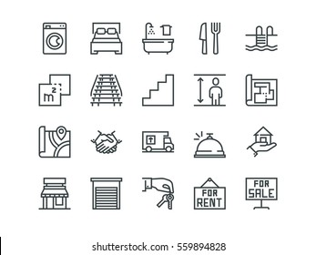 Real Estate. Set of outline vector icons on a white background