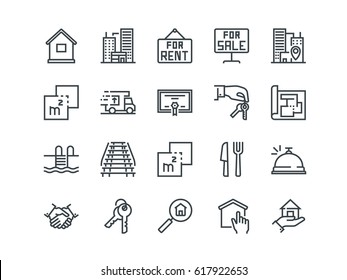 Real Estate. Set of outline vector icons. Includes such as Property, Keys, Blueprint and other. Editable Stroke. 48x48 Pixel Perfect.