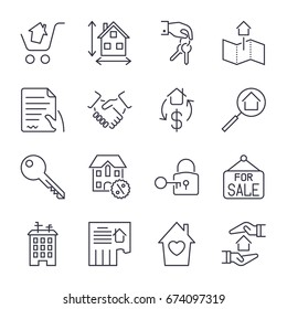 Real Estate. Set of outline vector icons. Includes such as Property, Building, Apartment and other. Editable Stroke