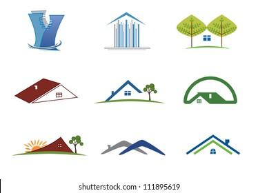 Real estate set of symbols for logo designing