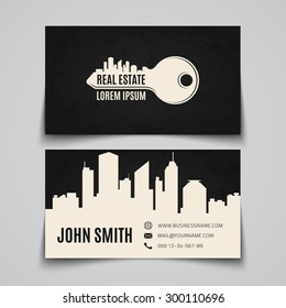 Real estate, simple key logo. Business card template. Vector illustration.