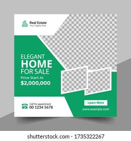 Real Estate Social Media Post Template, Editable Post Template Social Media Banners, Elegant of Real Estate or Home Sale Social Media Promotion, Square flyer design
