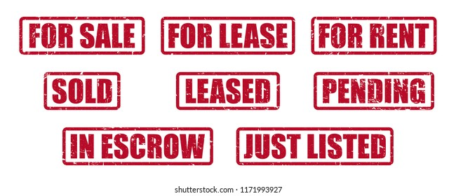 Real Estate Stamp Pack for Realtors and Real Estate Agents, Stamp Labels for Home Sales, Leases and Rentals, Symbols and Icons for Property Management and Marketing,  Distressed Sign Riders