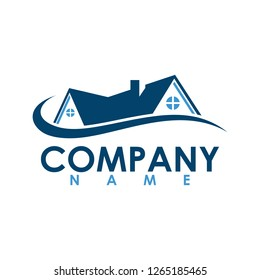 Real Estate with swirl vector logo design template.