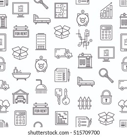 Real estate themed seamless pattern background