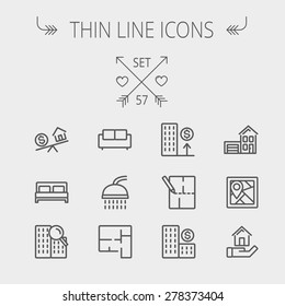 Real estate thin line icon set for web and mobile. Set includes- sofa, double bed, shower, drawing, buildings, house with garage icons. Modern minimalistic flat design. Vector dark grey icon on light