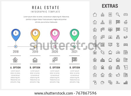 real estate timeline infographic template elements stock vector