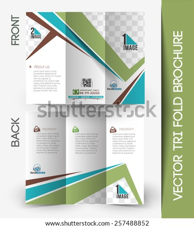 real estate tri fold mock brochure design stock vector royalty free