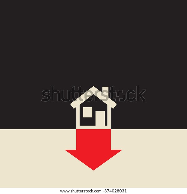 Real Estate Value Going Down Due Stock Vector Royalty Free 374028031