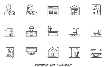 Real Estate Vector Flat Line Icons Set. Realtor, Kitchen, Warehouse, Townhouse, Bathroom. Editable Stroke. 48x48 Pixel Perfect.