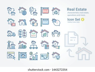 Real Estate vector icon collection with