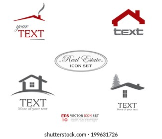 Real Estate Vector Icon set. Business sign template for Real Estate, brokerage, building, renovation businesses. Business graphics. Image may be used as web site or business card element. Sample text