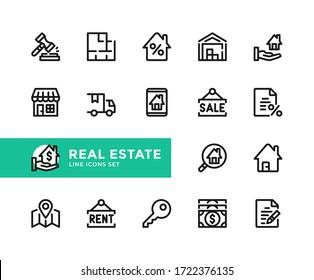 Vektorsymbole für Immobilien. Einfache Zusammenstellung von Rahmensymbolen, grafischen Designelementen. Zeilensymbole