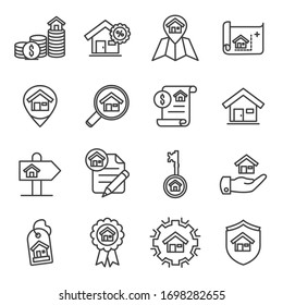 Real estate vector lines icon set. Contains such Icons as blueprint, building, agent and more. Editable Stroke