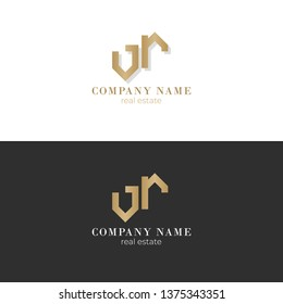 Real estate vector logo design. White and gray background with gold yellow house symbol business card. VR V R letter company logo.