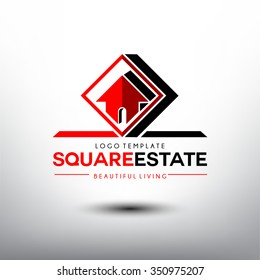 Real Estate vector logo design template. House in The Red Square concept icon.