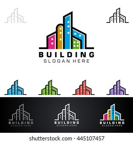 real estate vector logo design, abstract colorful building with line shape represented strong and modern real estate logo design