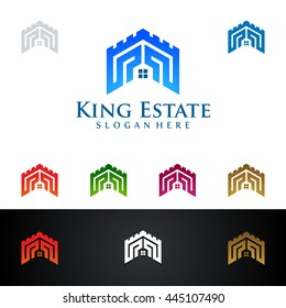 real estate vector logo design, abstract realty with line and simple kingdom shape represented strong and the king of real estate logo design