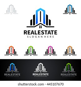 real estate vector logo design, abstract building with line shape realty represented strong real estate logo design