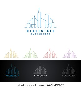 real estate vector logo design, abstract building with line shape represented strong and modern real estate logo design