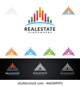 real estate vector logo design, abstract building with colorful line shape represented unique, strong and modern real estate logo design