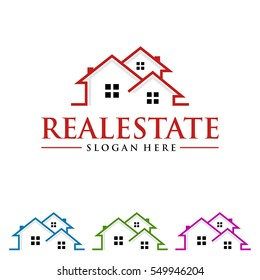 real estate vector logo design with home shape