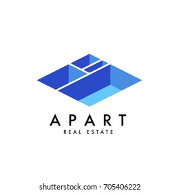 Real estate vector logo design template for corporate identity. Apartment isometric plan icon template layout.