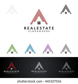 real estate vector logo design,abstract home and mountain with negative space concept represented unique and modern real estate logo design