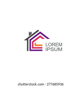 Real Estate vector logo. House abstract concept icon.